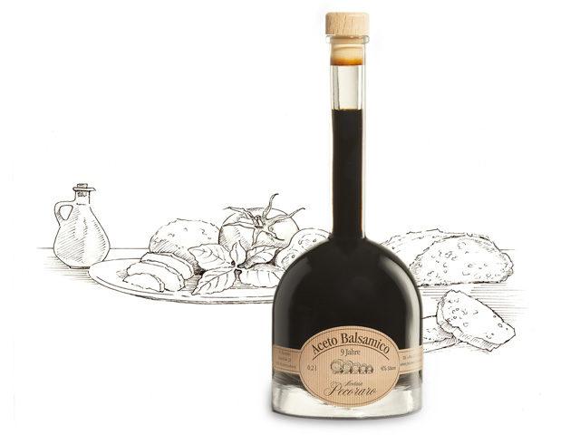 Aceto Balsamico Pecoraro - 9 Jahre mit Hintergrundzeichnung